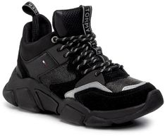 Sneakersy TOMMY HILFIGER - Mid Cut Chunky Sneaker FW0FW04611 Black BDS