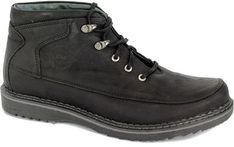 Czarne buty zimowe męskie Riko skórzane